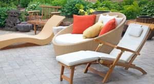 Outdoor furniture in a beautiful summer afternoon