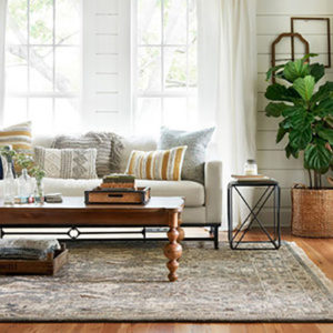 Versatile rugs and pillows with warm, neutral colors placed on the sofa