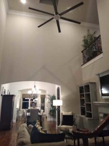 "Furnished room with 72"" contemporary ceiling fan"