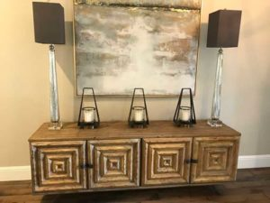 Unique Console Table with 3 Candle Holder and 2 Tall Lamps