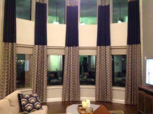 designer curtains installed in living room