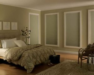 Beige color bed matching the interior of the room
