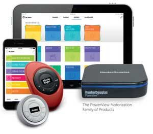 Hunter Douglas PowerView App on mobile, tablet along with remote