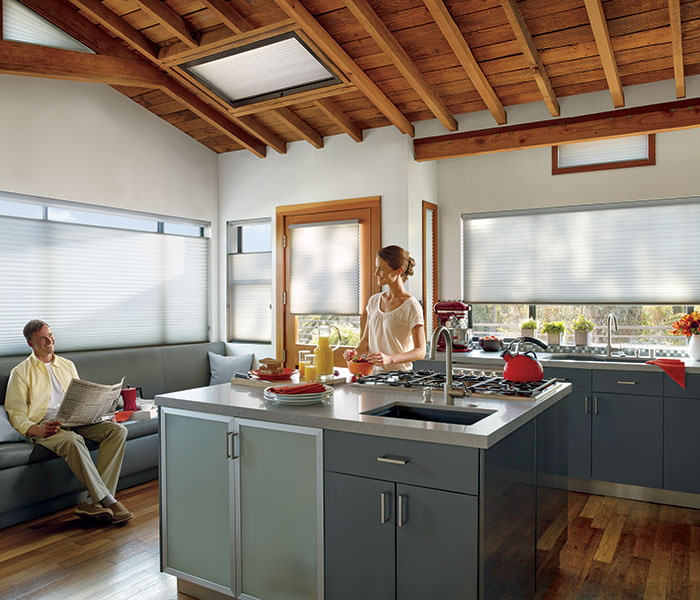 remote controlled shutter window in kitchen