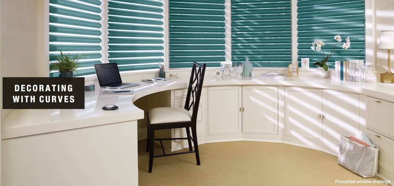 Decorating with Curves; shown with Pirouette window shadings. Home Design Ideas from Read Design