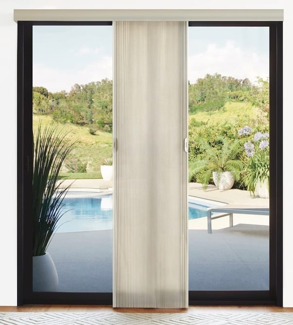 Duette® Honeycomb Shades on a sliding-glass door. Available at Read Design