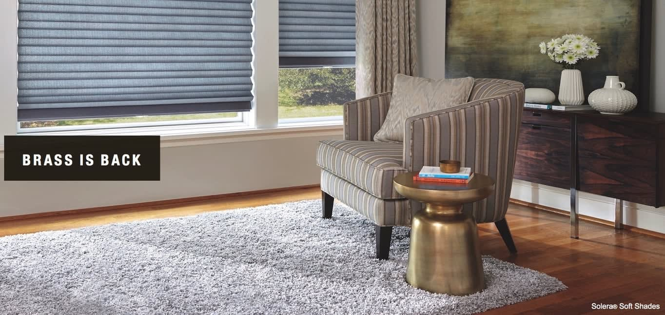 Brass is Back; shown with Solera Soft Shades. Home Design Ideas from Read Design
